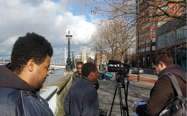 Young people from Creative Sparkworks by the River Thames